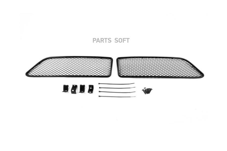 Сетка на бампер внешняя для HYUNDAI Santa Fe Premium 2015->, 2 шт., черн., 15 мм, для автомобилей с адаптивным круиз-контролем