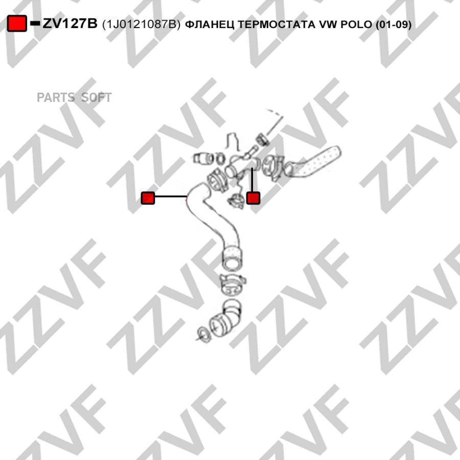 ФЛАНЕЦ ТЕРМОСТАТА VW POLO (01-09)