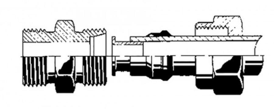Фитинг прямой с двусторонней внутренний резьбой d12, L=43 (металл)