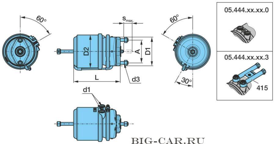 Энергоаккумулятор 20/24 (дисковый тормоз)+ RVI magnum