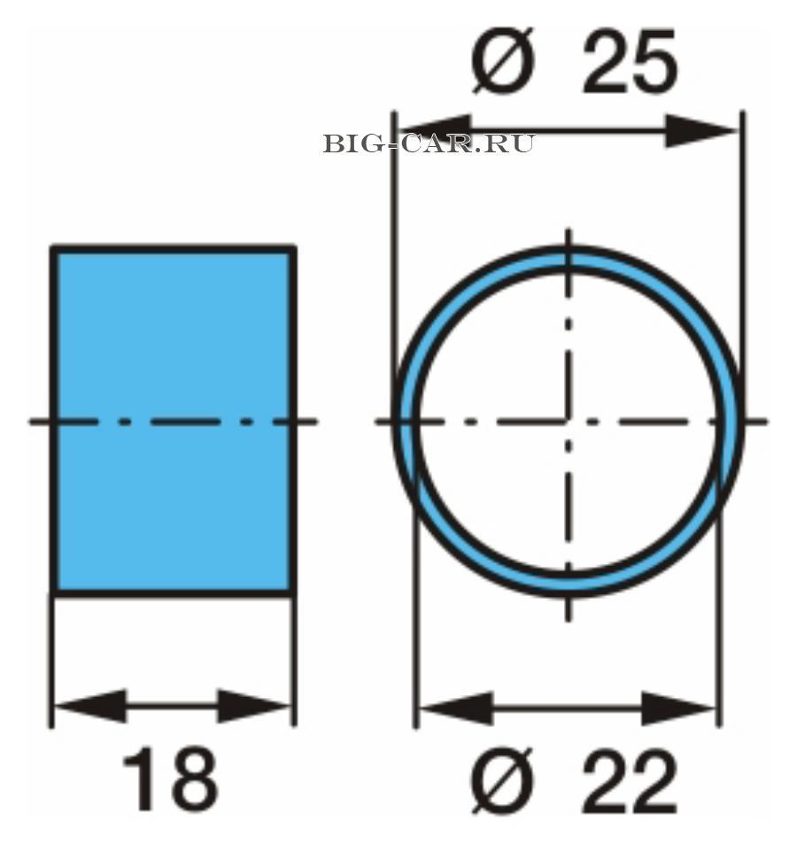 Втулка центровочная, 22x25x18 колесного болта