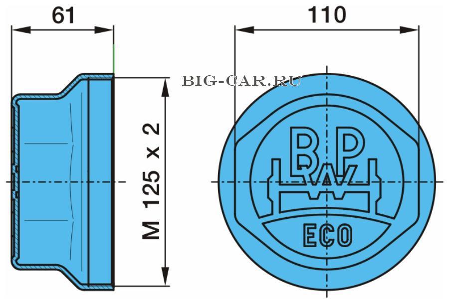 Крышка ступицы M125x2 ECO(внут.резьба)