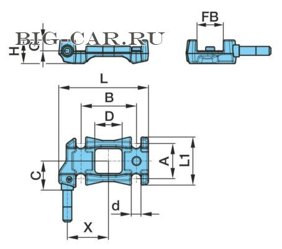 Опорная пластина рессоры правая. с крепление под амортизатор; A 92 / B 148 / □ 66 x 73 / d Ø 26 / G