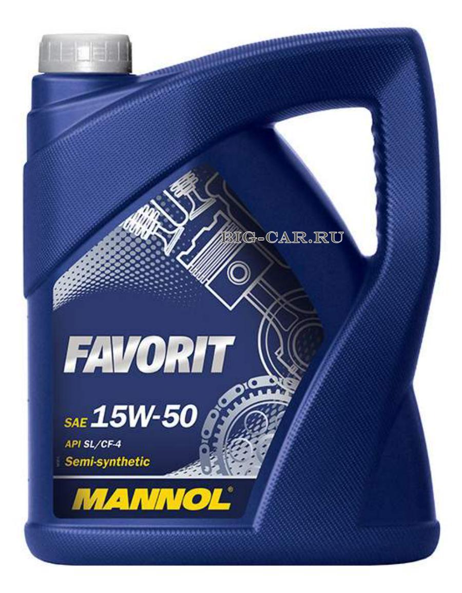 Масло моторное полусинтетическое FAVORIT 15W-50, 5л