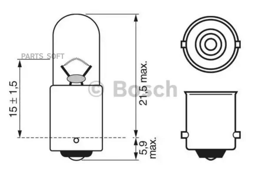 Лампа накаливания автомобильная Goodyear T4W 12V 4W BA9s  (коробка: 10шт.)