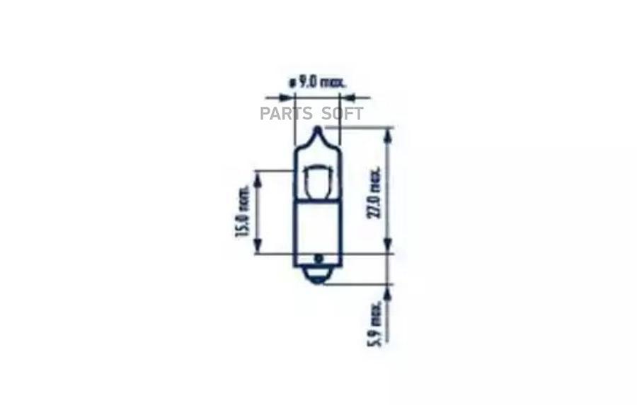 Лампа H6W 12V 6W BAX9s NVA CP