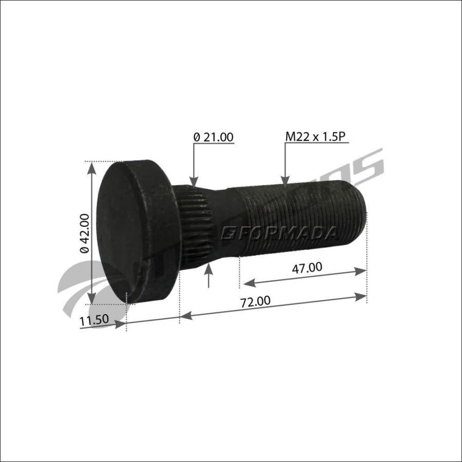 5.20202 Болт колесный M22x1.5x83/72 DAF 65/75/85/95/105CF/II/IV/XF