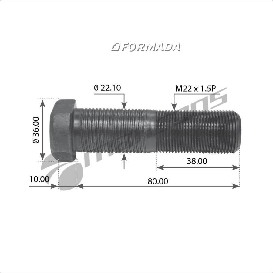 300203 Шпилька ступицы колеса прицепа M22x1,5 89/54 / BPW