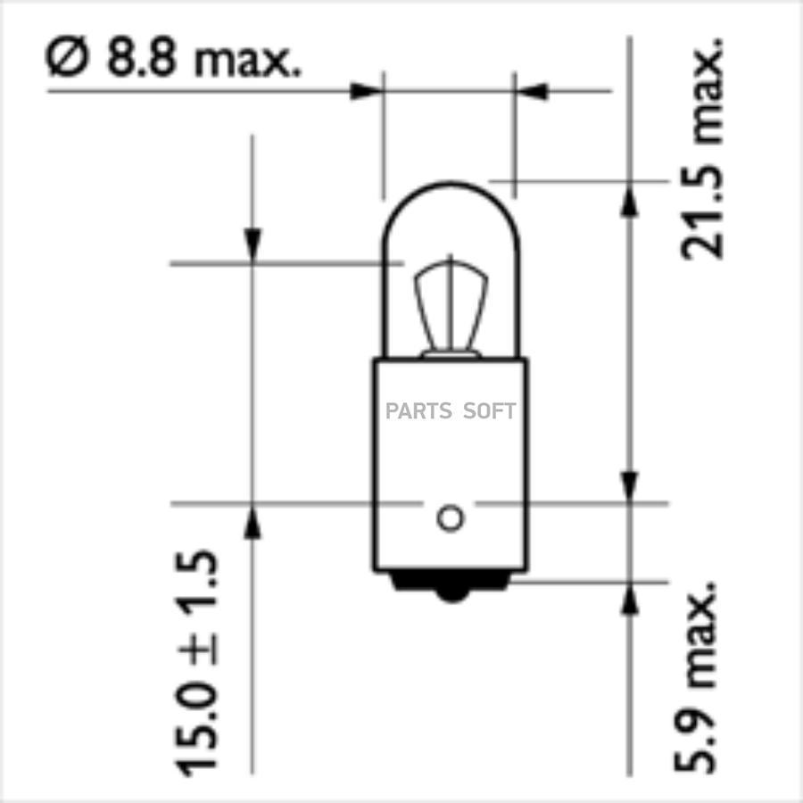 Лампа накаливания T4W 24V 4W BA9s блистер (2 шт.) B2
