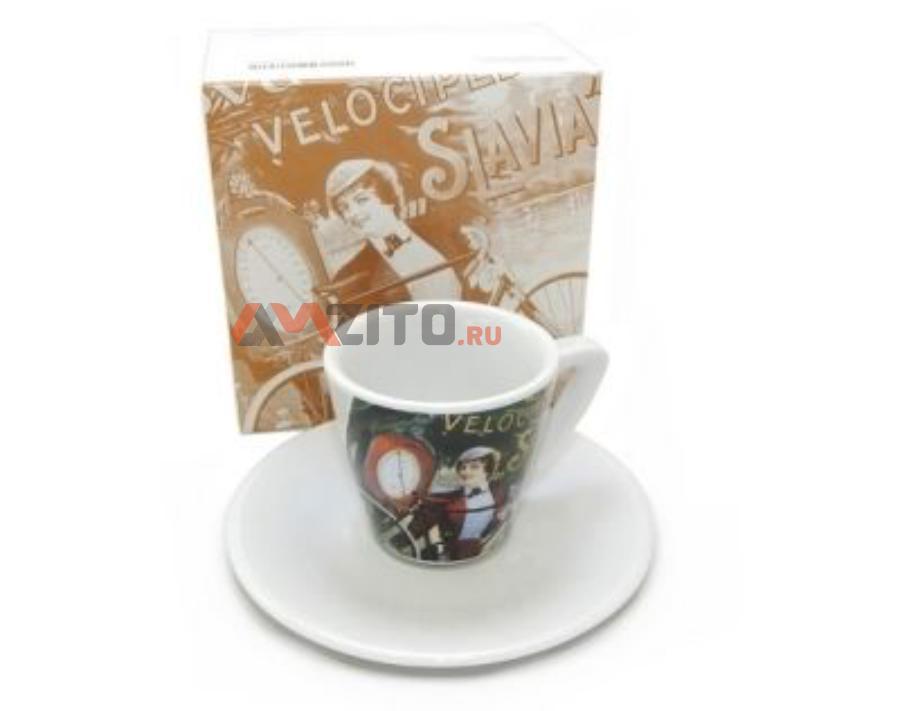 Чашка с блюдцем для эспрессо Skoda Espresso Cup Bike Slavia