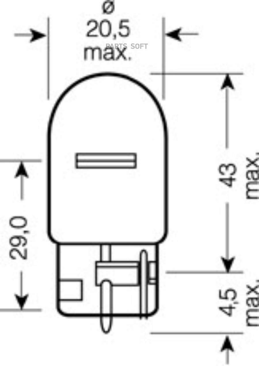 Лампа накаливания автомобильная Goodyear W21W 12V 21W W3x16d (коробка: 10шт.)