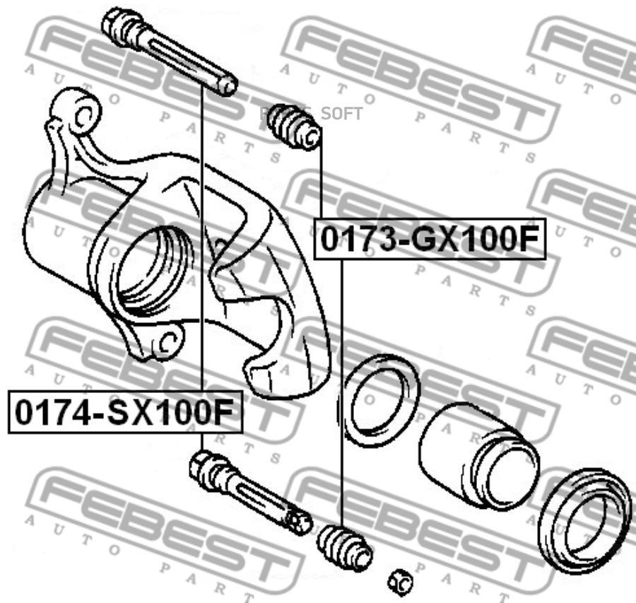 Втулка суппорта FEBEST 0174-GX100F