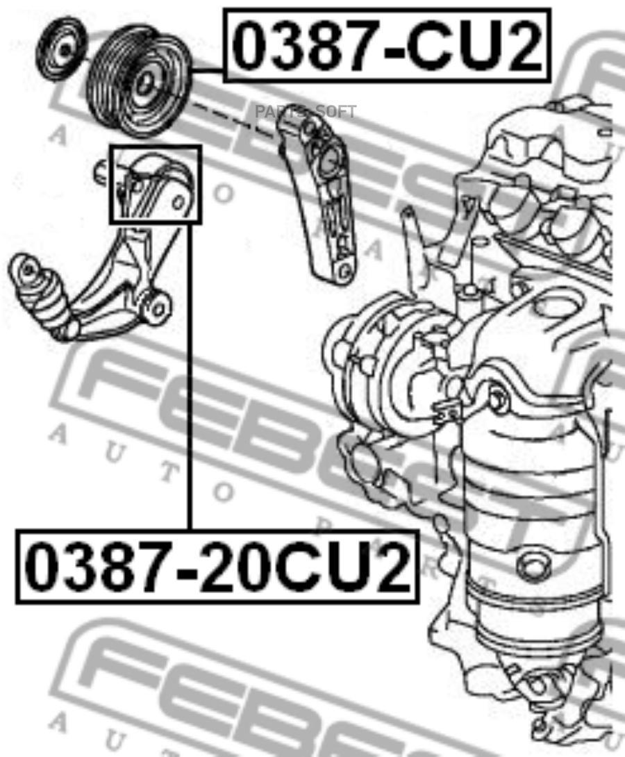 Ролик натяжной FEBEST 0387-CU2 (PB-7013, 31190-RL2-G01, T38016)