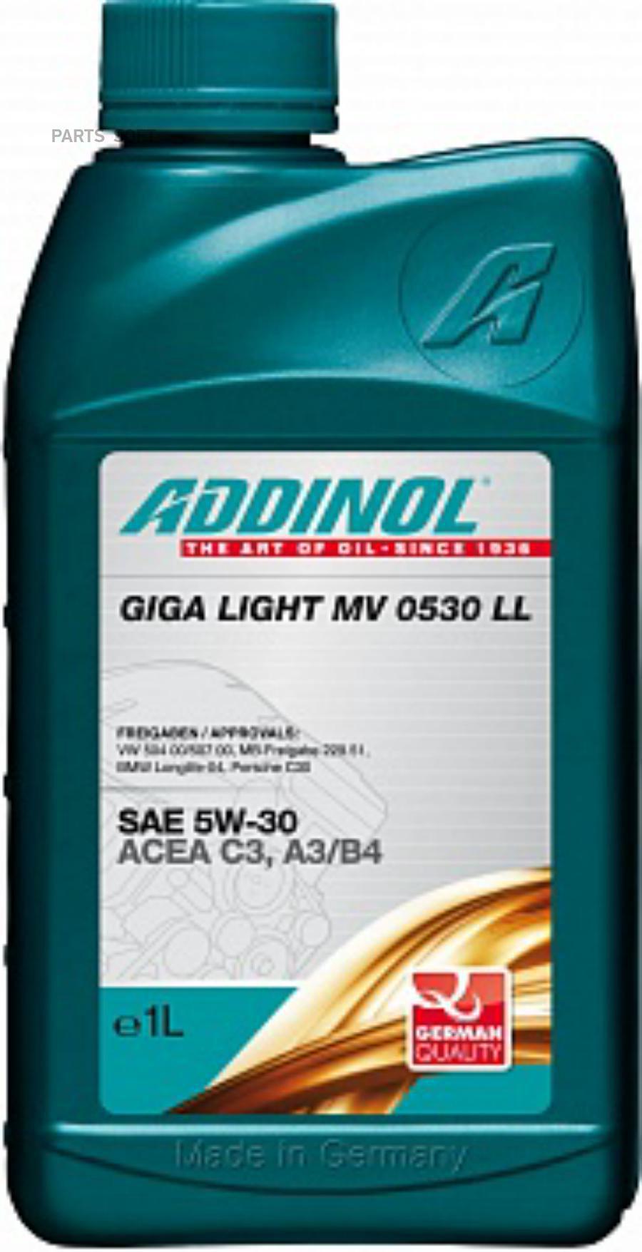 Масло моторное синтетическое Giga Light (Motorenol) MV 0530 LL 5W-30, 1л