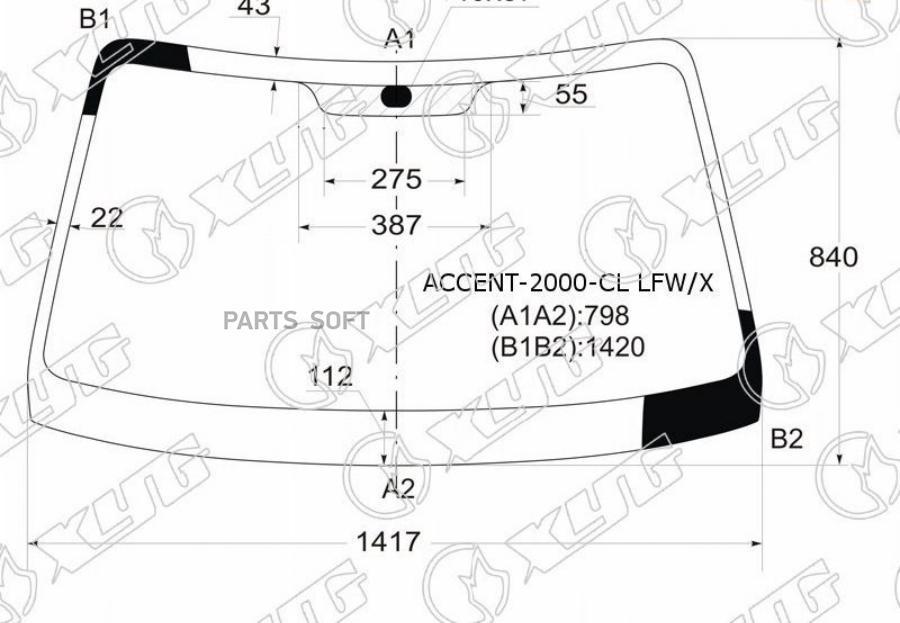 Стекло Accent 03-05 лобовое 86110-25100 ( SED )