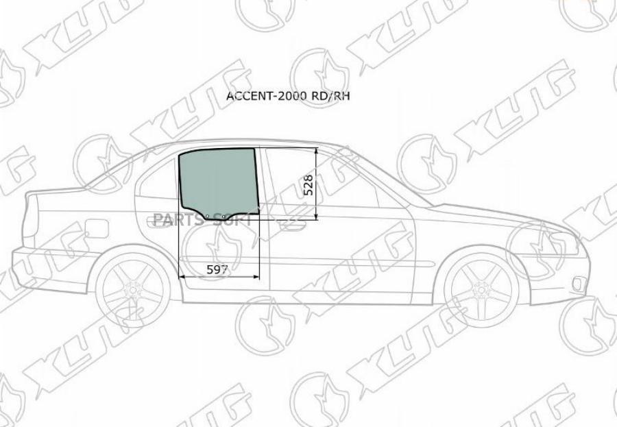 Стекло Accent 03- SED боковое RR RH 83420-25000