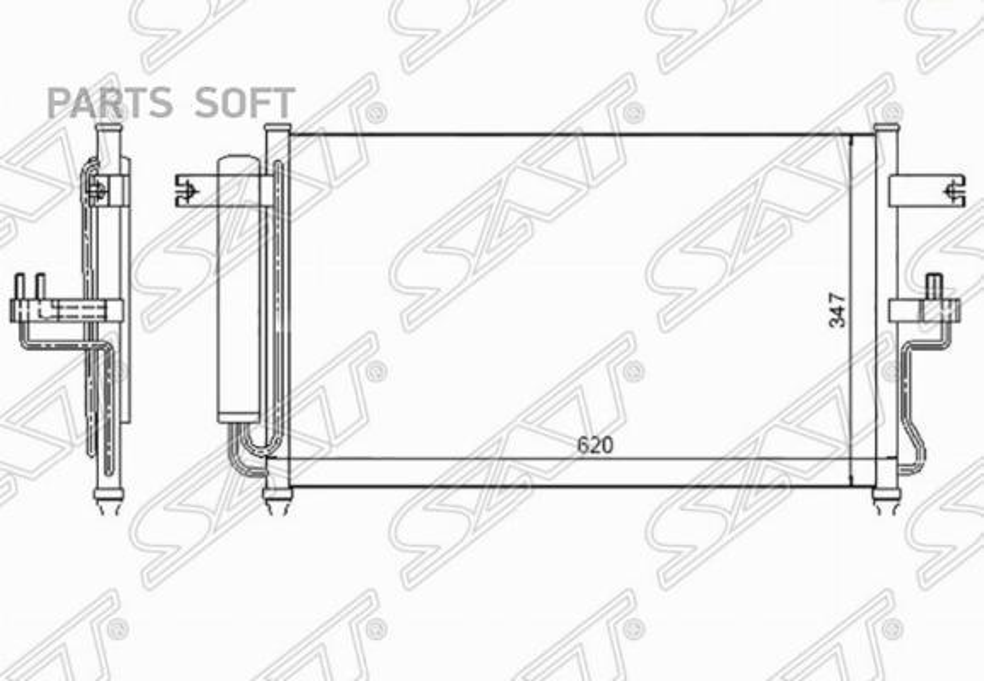 Радиатор кондиционера HYUNDAI ACCENT (TAGAZ) 1.3 / 1.5 / 1.6 00- (AT)