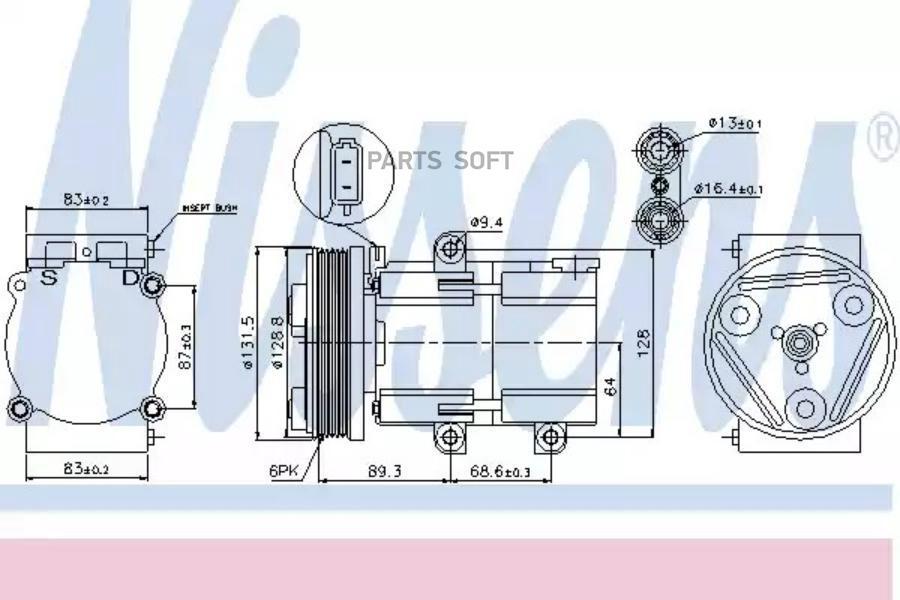 Компрессор кондиционера FORD COUGAR (EC) 98-01, MONDEO I (GBP) 94-96, TRANSIT (FA) 00-06 DENSO DCP10013