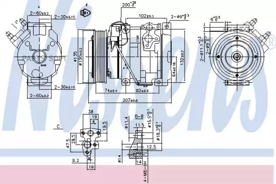 Компрессор кондиционера TOYOTA CAMRY (MCV3_, ACV3_, _XV3_) 01-06,CAMRY седан (MCV3_, ACV3_, _XV3_) 01-06 DENSO DCP50041