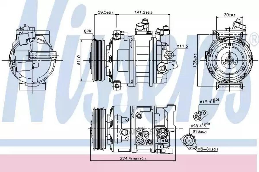 Компрессор кондиционера AUDI A1 (8X1, 8XF) 14-,A1 Sportback (8XA, 8XK) 14-,A3 (8V1) 12-,A3 (8V1) 14-,A3  DENSO DCP32060