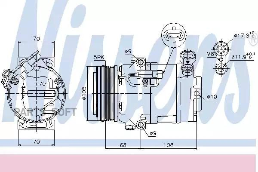 Компрессор кондиционера OPEL ASTRA H 04-10,ASTRA H GTC 05-10,ASTRA H TwinTop 05-,ASTRA H седан (L69) 07- DENSO DCP20047