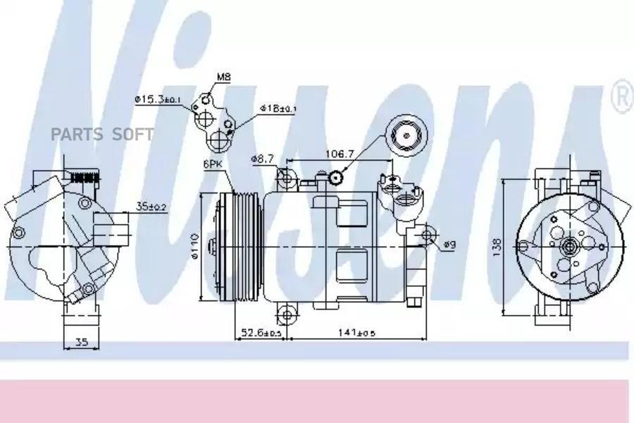Компрессор кондиционера BMW 3 (E46) 01-05,3 Compact (E46) 01-05,3 Touring (E46) 01-05,3 кабрио (E46) 01- DENSO DCP05070