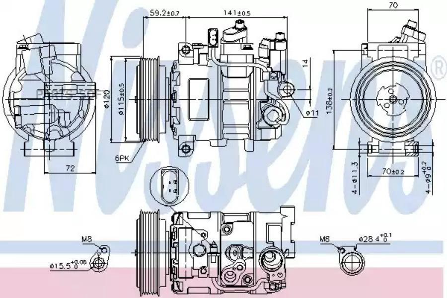 Компрессор кондиционера AUDI A4 (8EC, B7) 04-08,A4 Avant (8ED, B7) 04-08,A4 кабрио (8H7, B6, 8HE, B7) 02 DENSO DCP02097