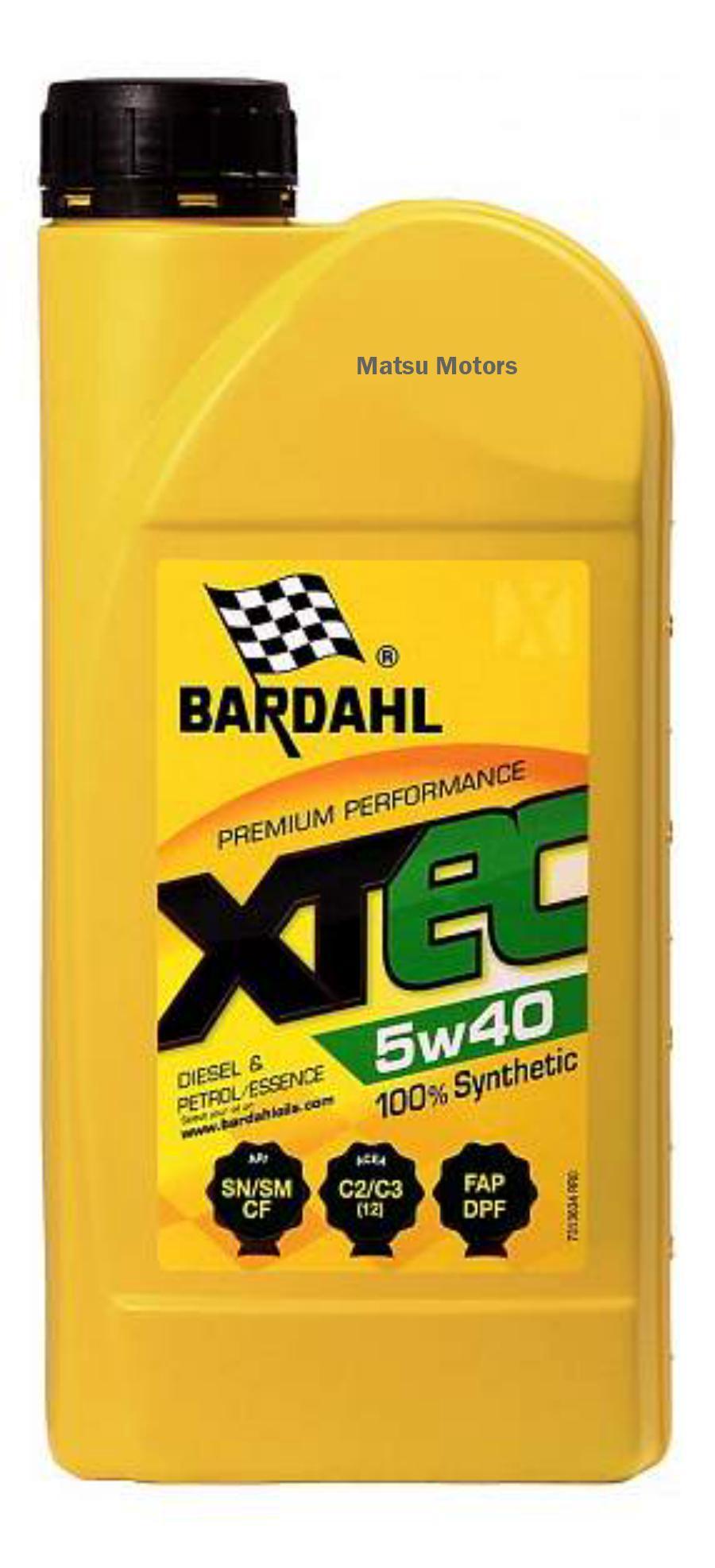 Масло  BARDAHL 5W40 XTEC SN/CF 1 литр C3-12
