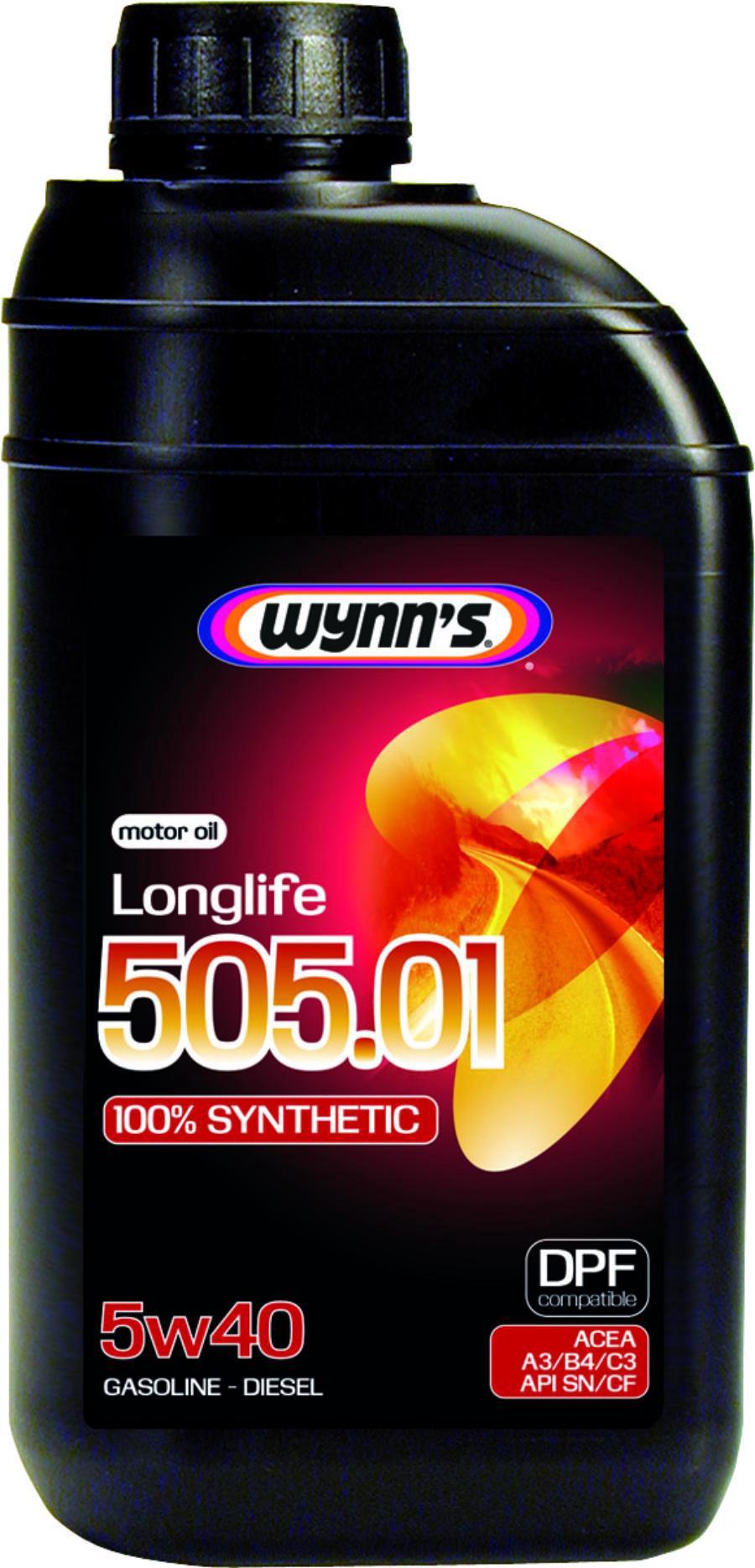 Моторное масло синтетическое WYNNS LONGLIFE  505.01 5W-40, 1л