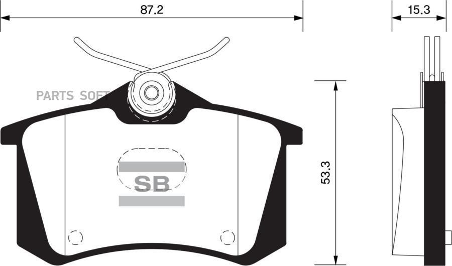 Колодки тормозные задние дисковые CWVA 110лс Polo седан (с 2015 г.в.) SanSing SP1391 (аналог 1K0698451J, 5K0698451B)