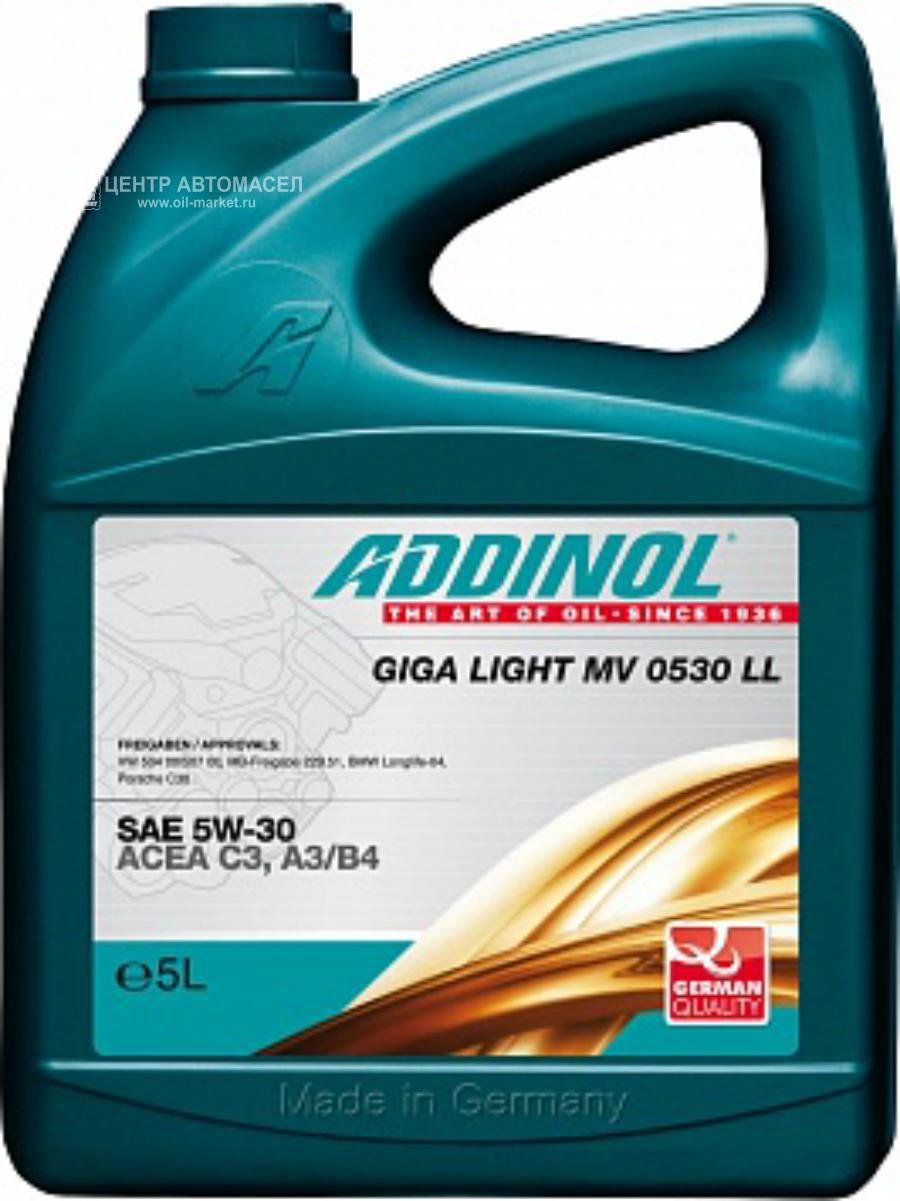 Масло моторное синтетическое Giga Light (Motorenol) MV 0530 LL 5W-30, 5л