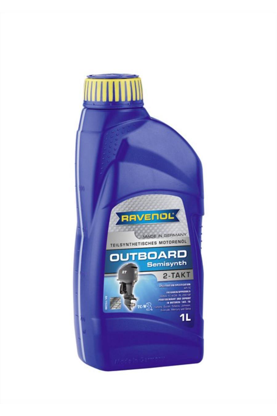 Двухтактное масло моторное полусинтетика РАВЕНОЛ Outboardoel 2T для лодочных моторов 1л