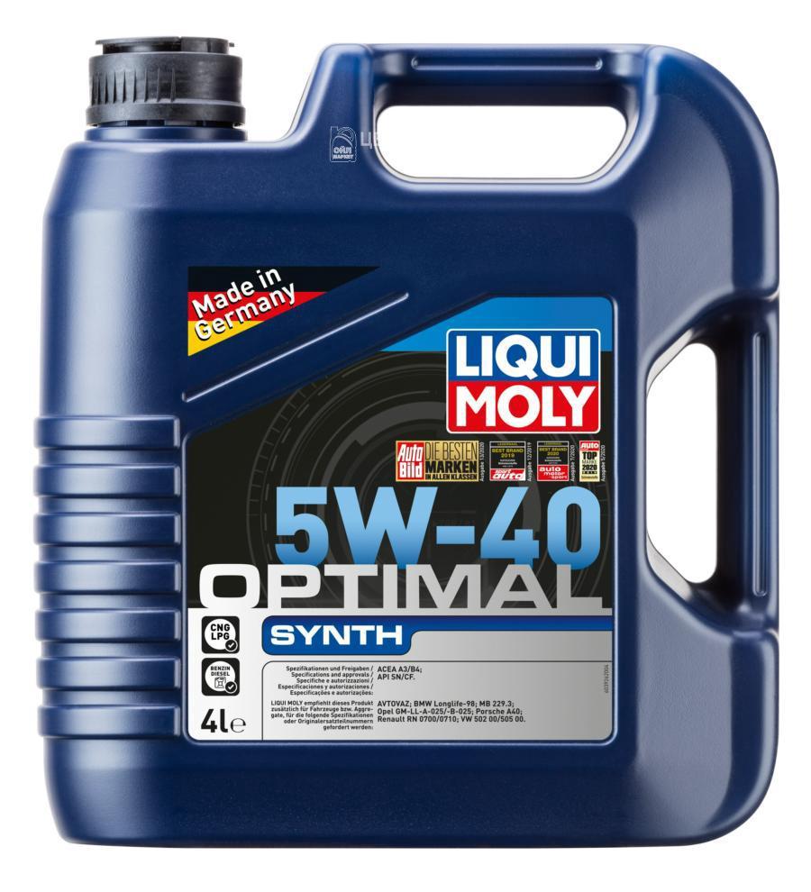 Масло моторное Liqui Moly НС-синтетическое 4т Optimal Synth 5w40 4л. 3926