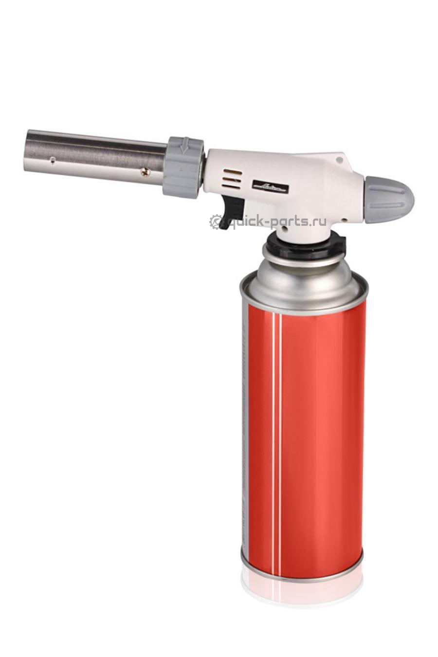 Газовая горелка с пьезоподжигом на цанговый баллон, анти-вспышка, регулятор воздуха, 20*6*4 см