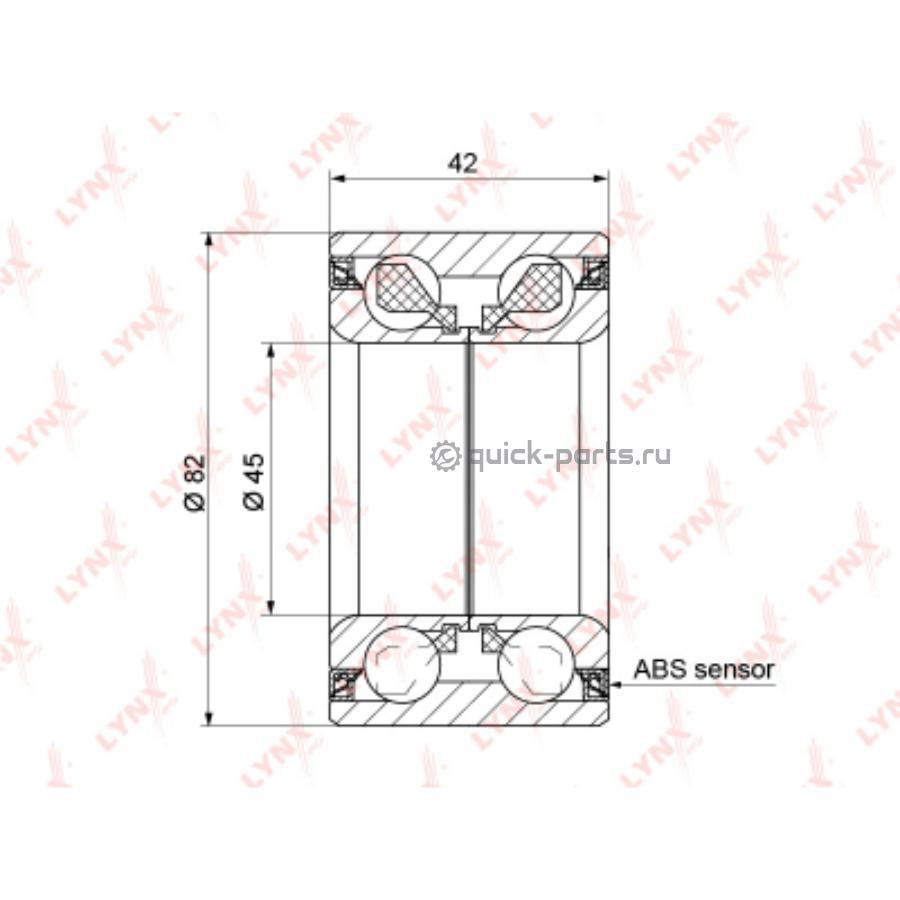Подшипник ступицы передний с ABS (42x45x82)