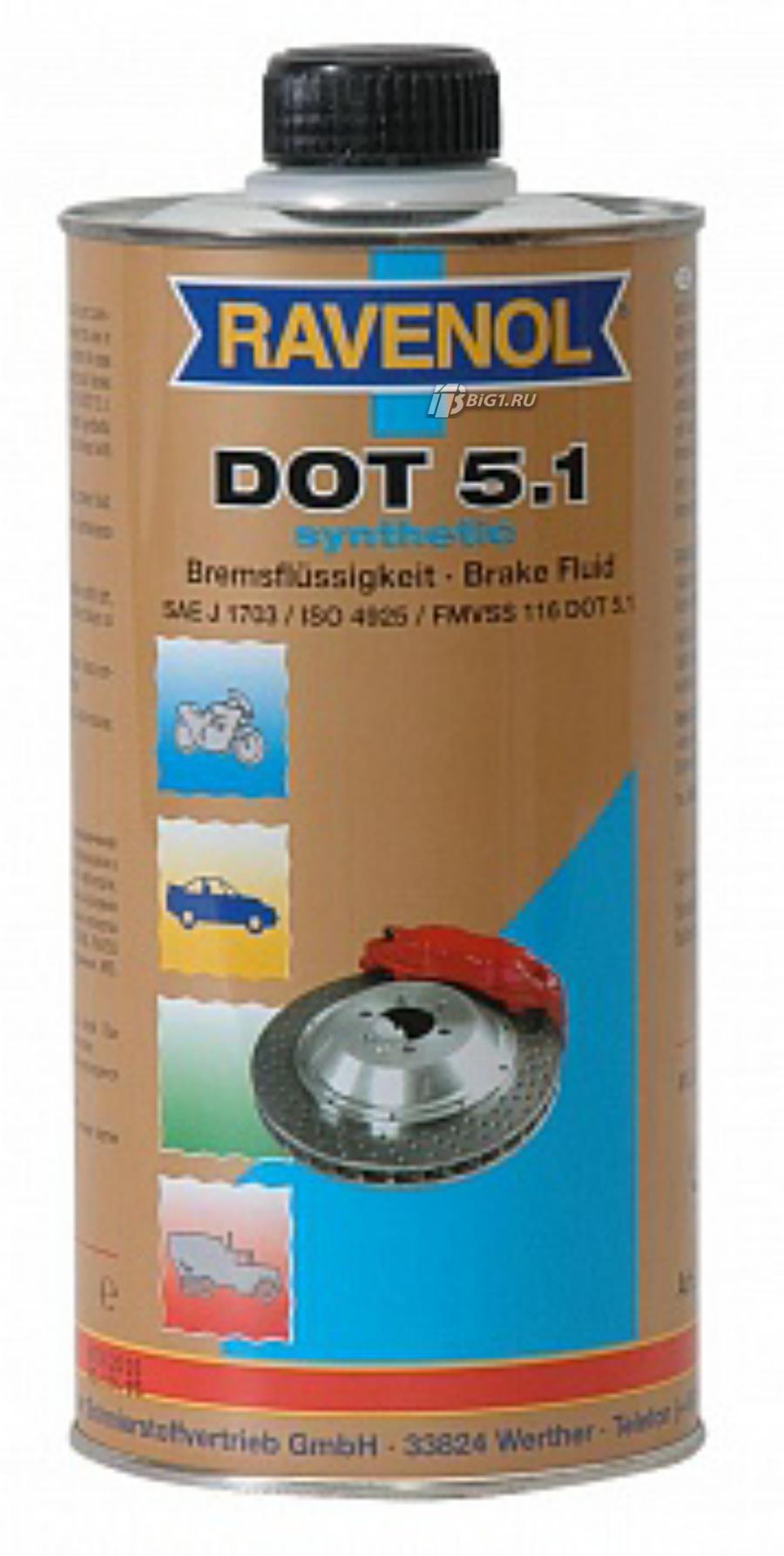 Тормозная жидкость ravenol dot-5,1 (1 л)