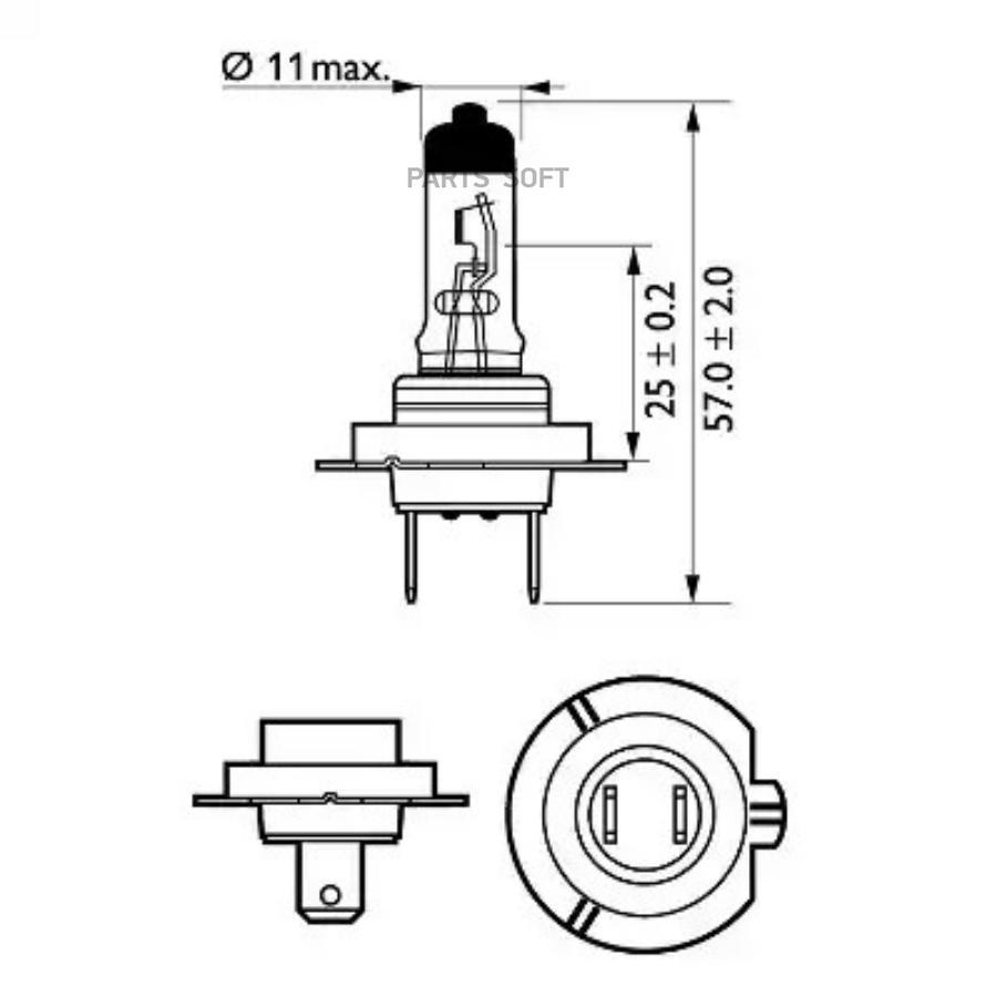 Лампа галогеновая H7 VisionPlus +60% 12V 55W PX26d B1